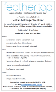 Peaks Challenge Food Menu Restaurant Bar Falls Creek Feathertop Lodge
